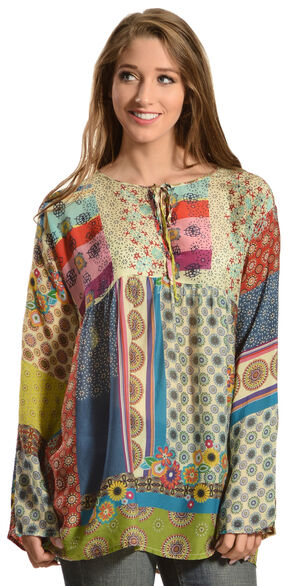 Johnny Was Women's Brightwood Neck Tie Top, Print, hi-res