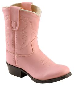 Old West Toddler Girls' Pink Vinyl Cowgirl Boots - Round Toe, Pink, hi-res