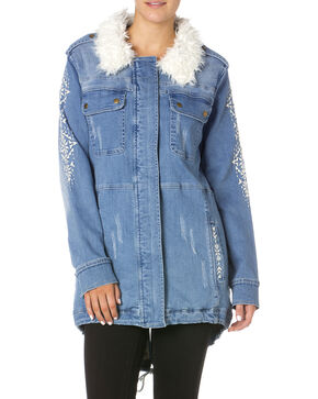 Miss Me Enter the Wild Denim Parka, Light Blue, hi-res
