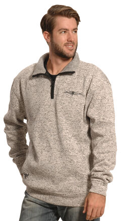 Cowboy Hardware Men's Oatmeal Brown Barbed Wire 1/4 Zip Pullover , , hi-res