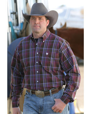 Cinch Men's Burgundy Plaid Western Shirt, Burgundy, hi-res