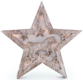 BB Ranch Wooden LED Star Lantern, No Color, hi-res