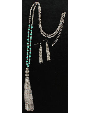 Blazin Roxx Turquoise & Tassel Necklace & Earrings Set, Silver, hi-res