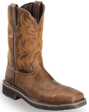 Justin Tan Tail Stampede Pull-On Work Boots - Composite Toe, Tan, hi-res