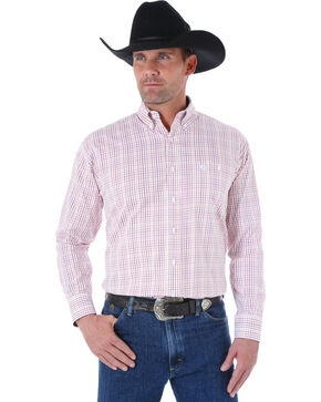 Wrangler George Strait Men's White and Burgundy Plaid Western Shirt, White, hi-res