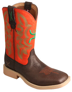 Twisted X Kid's Red and Green Hooey Cowboy Boots - Square Toe, , hi-res