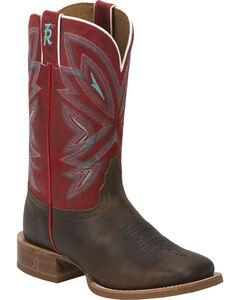 Tony Lama Tobacco Faro 3R Stockman Cowgirl Boots - Square Toe , , hi-res