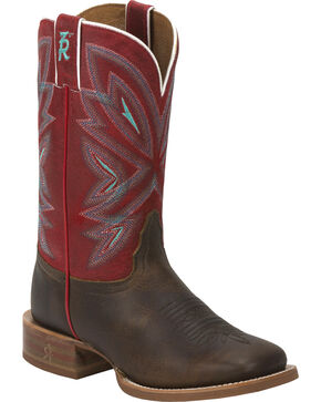 Tony Lama Tobacco Faro 3R Stockman Cowgirl Boots - Square Toe , Brown, hi-res
