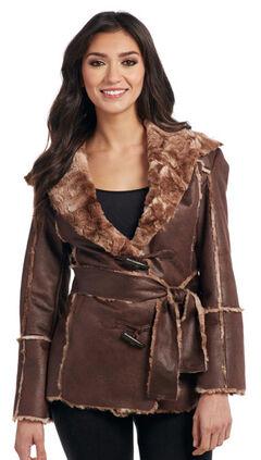 Cripple Creek Women's Brown Faux Fur Lining Waist Coat , , hi-res