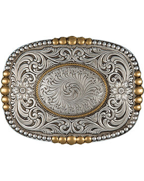 Montana Silversmiths Men's Heirloom Gold Pioneer Portrait Buckle, Antique Silver, hi-res