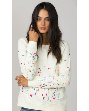 Miss Me White Paint Splatter Long Sleeve Sweater, White, hi-res