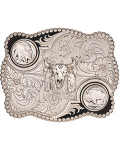 Montana Silversmiths Antiqued Buffalo Nickel and Skull Buckle, , hi-res