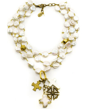 Julio Designs Doña Fortuna Butterfly Pearl Necklace, Pearl, hi-res