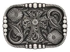 Montana Silversmiths Antiqued Western Deco Cross Attitude Belt Buckle, , hi-res
