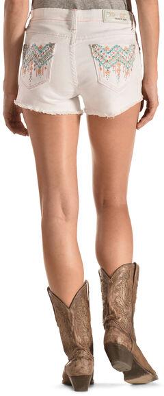 Grace in LA Aztec Stitch White Cutoff Shorts, , hi-res