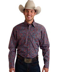 Roper Men's Amarillo Collection Navy & Red Paisley Snap Long Sleeve Shirt, , hi-res