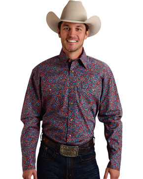 Roper Men's Amarillo Collection Navy & Red Paisley Snap Long Sleeve Shirt, Red, hi-res