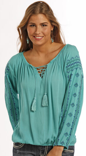 Panhandle Slim Red Label Crinkle Peasant Top , Turquoise, hi-res