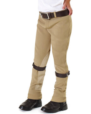 EquiStar Kids' EquiTuff Pull-On Breeches, Tan, hi-res
