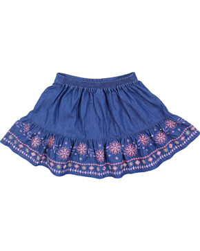 Shyanne Girls' Embroidered Denim Skirt, Blue, hi-res