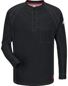 Bulwark Men's Black iQ Series Flame Resistant Henley Shirt, , hi-res