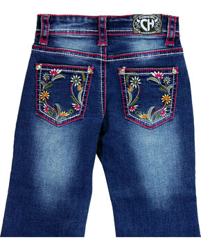 Cowgirl Hardware Girls' Floral Embroidered Jeans (7-16), Indigo, hi-res