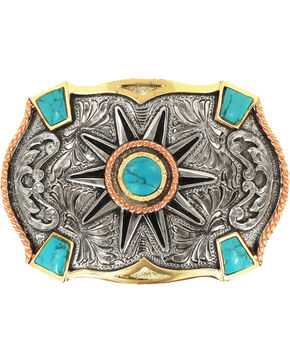 Crumrine Women's Silver Turquoise Stone Accent Belt Buckle, Multi, hi-res