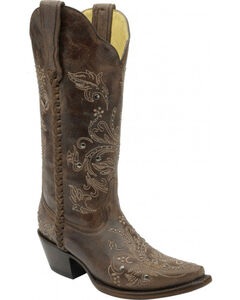 Corral Floral Whip Stitch Studded Cowgirl Boots - Snip Toe, , hi-res