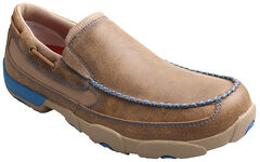 Twisted X Men's Brown and Blue Leather Driving Mocs, , hi-res