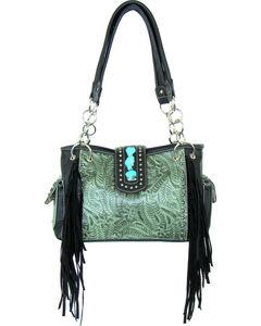 Savana Women's Turquoise Tooled Concealed Carry Satchel Handbag Bag  , , hi-res