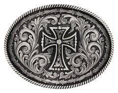 Montana Silversmiths Deco Cross Attitude Belt Buckle, , hi-res