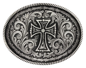 Montana Silversmiths Deco Cross Attitude Belt Buckle, Silver, hi-res