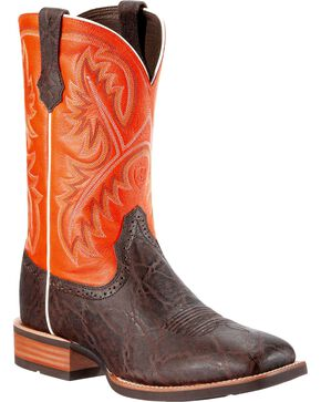 Ariat Men's Quickdraw Elephant Print Boot - Wide Square Toe, Chocolate, hi-res