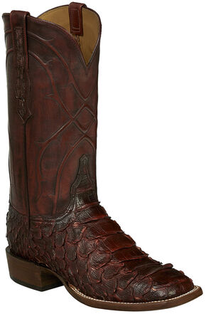 Lucchese Wine Perry Giant Python Cowboy Boots - Square Toe , Wine, hi-res