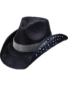 Peter Grimm Braden Embellished Black Straw Cowgirl Hat, Black, hi-res