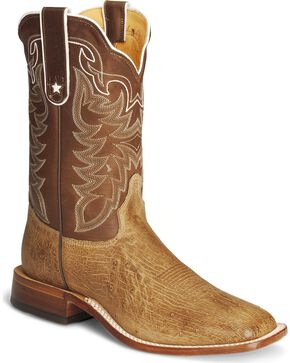 Tony Lama Smooth Ostrich Cowboy Boots - Square Toe, Antique Tan, hi-res