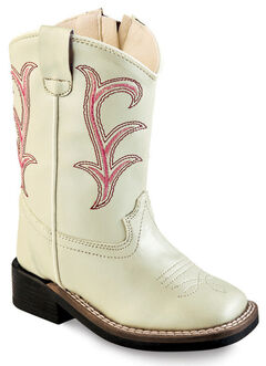Old West Girls' Toddler White Western Boots - Square Toe , , hi-res