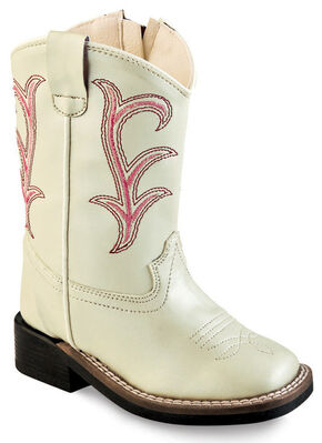 Old West Girls' Toddler White Western Boots - Square Toe , White, hi-res
