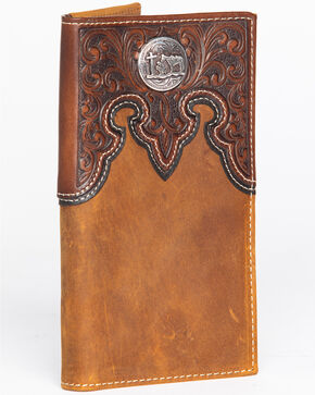 Cody James Men's Tooled Praying Cowboy Checkbook Wallet, Brown, hi-res