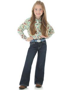 "Wrangler Girls' Indigo ""W"" Swish Embroidery Jeans - Boot Cut, Indigo, hi-res"