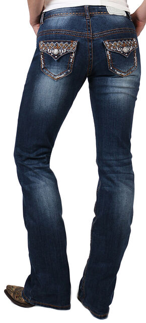 Shyanne Women's Bronze Stitched Boot Cut Jeans, Blue, hi-res