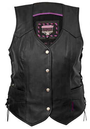 Interstate Leather Side Laced Vest - Reg, Black, hi-res