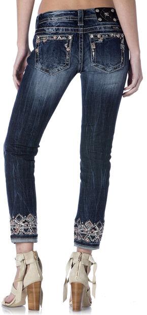 Miss Me Women's Aztec Cuffed Skinny Jeans , Indigo, hi-res