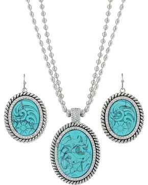 Montana Silversmiths Women's Carved Legacy Turquoise Jewelry Set , Silver, hi-res