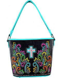 Montana West Spiritual Collection Cut-out Pattern with Color Embroidery Handbag, , hi-res