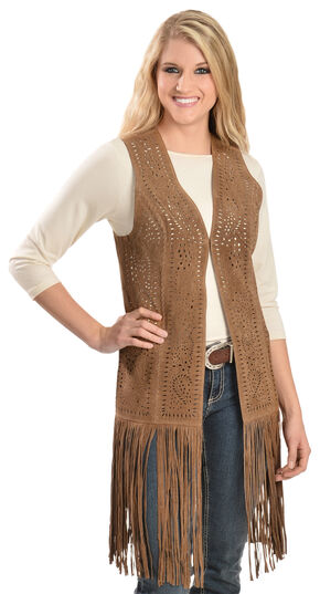 Scully Long Suede Fringe Vest, Brown, hi-res