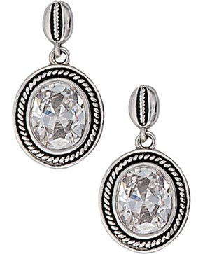 Montana Silversmiths Roped Oval Cubic Zirconia Earrings, Silver, hi-res