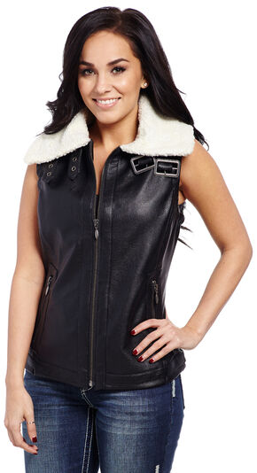 Cripple Creek Fur Collar Vest, Black, hi-res
