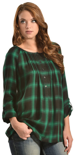Red Ranch Green Plaid Pleather Trim Pleated Flannel Top , Green, hi-res