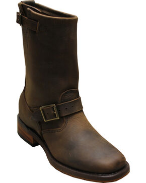 "Sage by Abilene Men's 11"" Engineer Boots - Square Toe, Brown, hi-res"